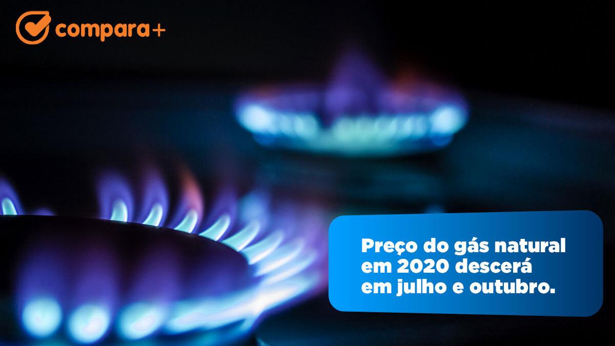 Preço do gás natural em 2020 com descidas em julho e outubro