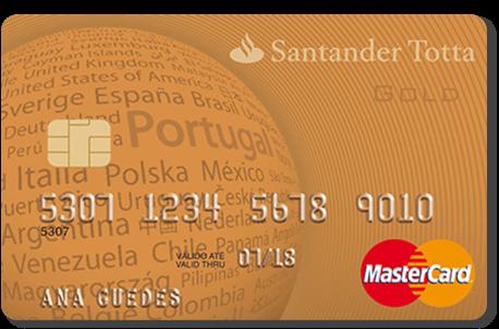 Cartão de crédito cor laranja Santander Gold