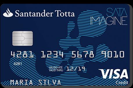Cartão de crédito cor azul Santander