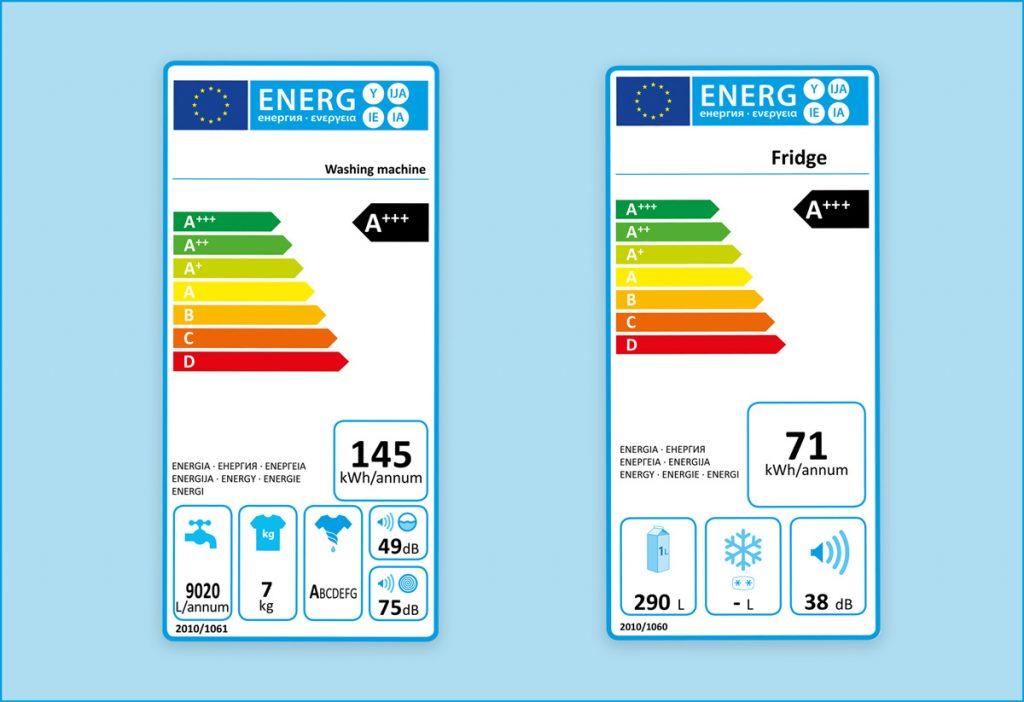Etiquetas energéticas para máquinas de lavar e para frigoríficos
