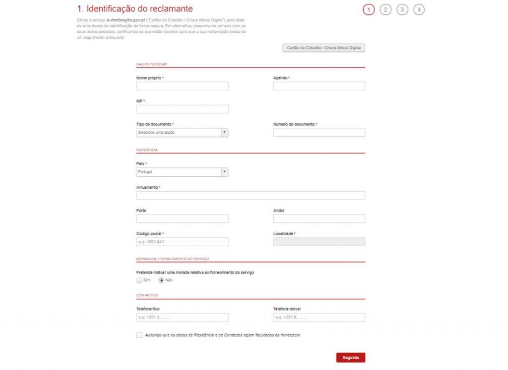 Reclamação do Serviço de eletricidade - Identificação do autor da reclamação (cliente)