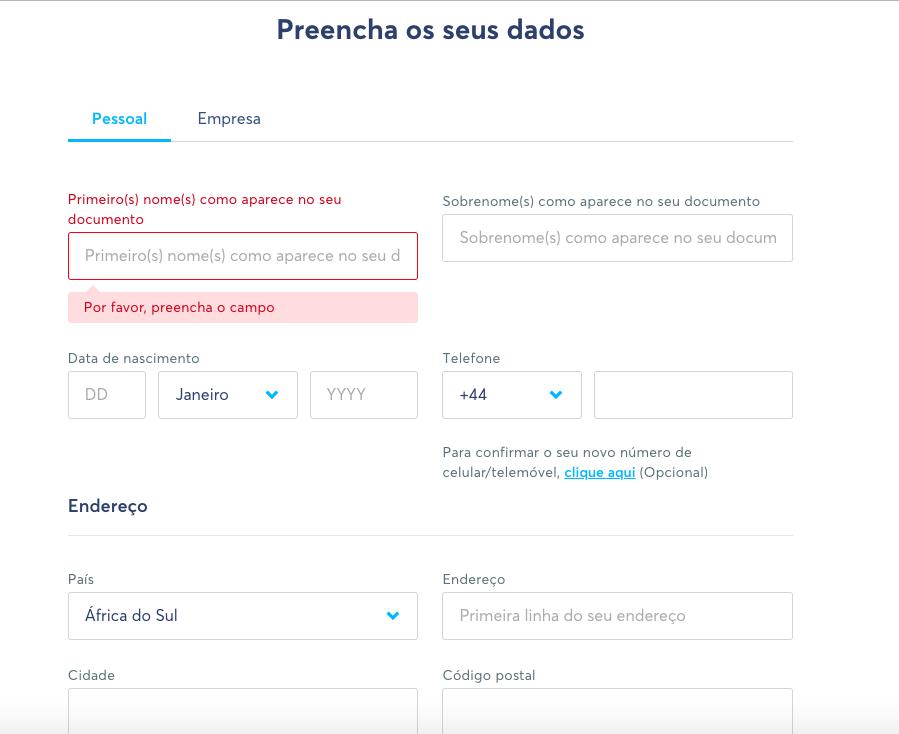 Como usar o Transferwise - Preencher os seus dados