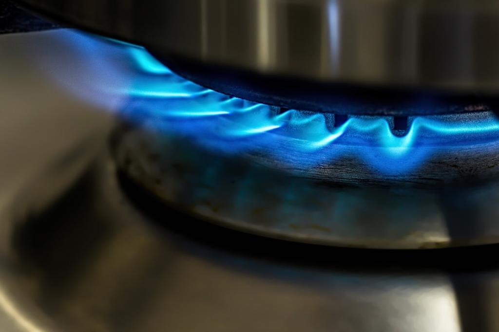 Chama do fogão a gás